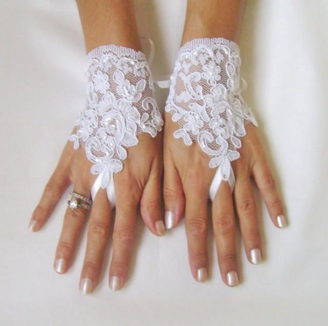 wedding photo - White Wedding gloves adorned beads french lace gloves bridal gloves lace gloves fingerless gloves white gloves alencon lace free ship