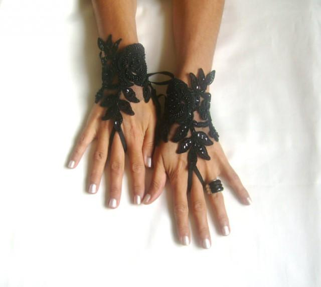 wedding photo - Black Glove gothic lace, FREE SHIP black embroidered with crystal stones gloves bridal gloves fingerless gloves french lace