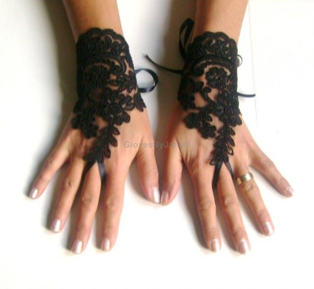 wedding photo - Black Wedding gloves french lace gloves bridal bridesmaid gloves lace gloves fingerless gloves black gloves free ship 266