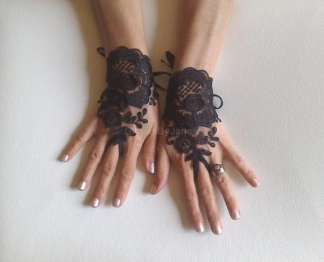 wedding photo - Black tulle lace glove embroidery bridal wedding fingerless burlesque body tattoo romantic bridesmaid glove