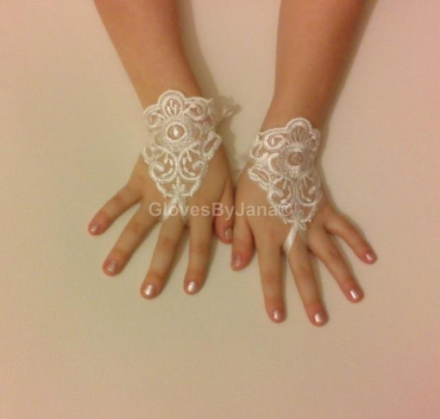 wedding photo - Flower girl ivory lace gloves wedding bridal gloves french lace for princess wedding gloves lace
