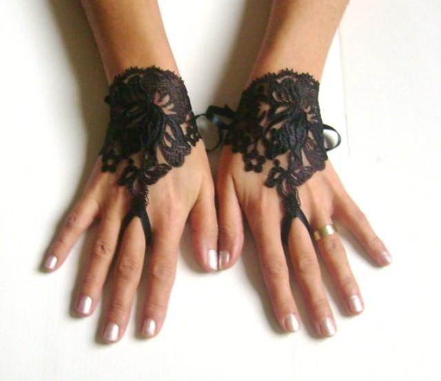wedding photo - Black lace gloves free ship 251