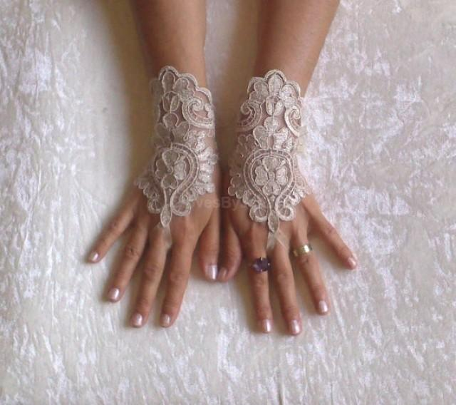 wedding photo - beige gold Wedding gloves bridal gloves fingerless lace gloves french lace gloves bridal bridesmaid prom party jubilee woman gift