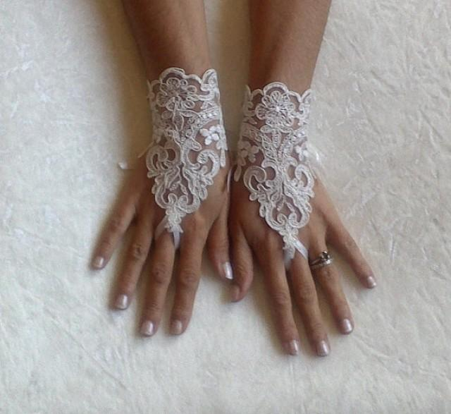 wedding photo - Ivory Wedding gloves bridal gloves lace gloves fingerless gloves ivory gloves french lace gloves free ship