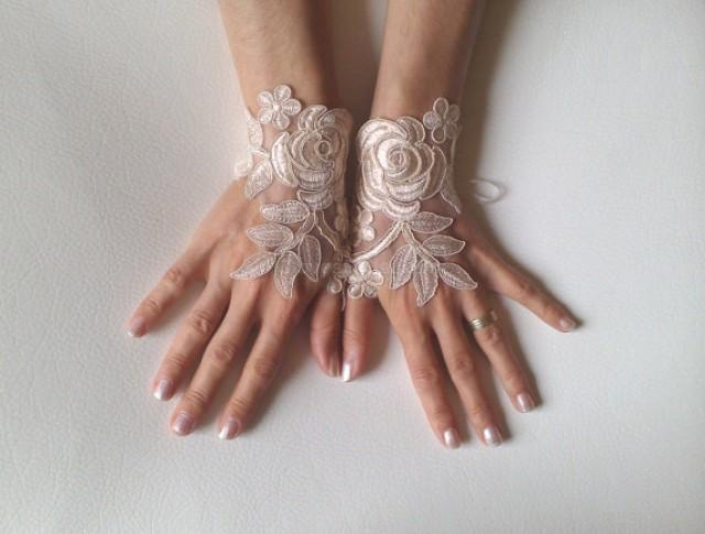 wedding photo - Wedding gloves Champagne bridal gloves fingerless lace gloves french lace gloves free ship cuffs for bride