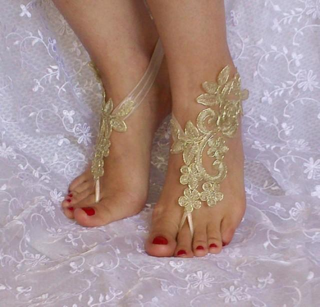wedding photo - Gold Bridal Accessories, dance shoes, Party, Shoe accessories, wedding bridal bohemian gold