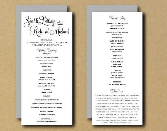 SALE - Printable Wedding Program Template - Whimsical Calligraphy ...