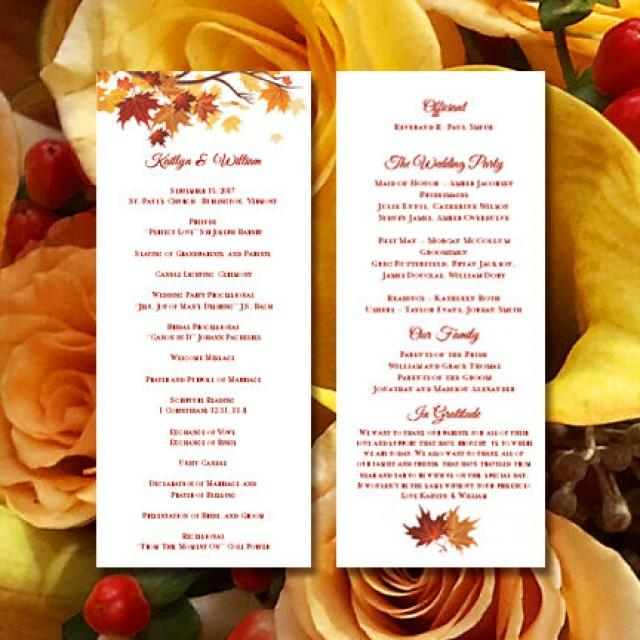 Printable Wedding Ceremony Program Template Falling Leaves DIY Fall Or Autumn Order Of Service Worddoc Instant Download You Print 2414124