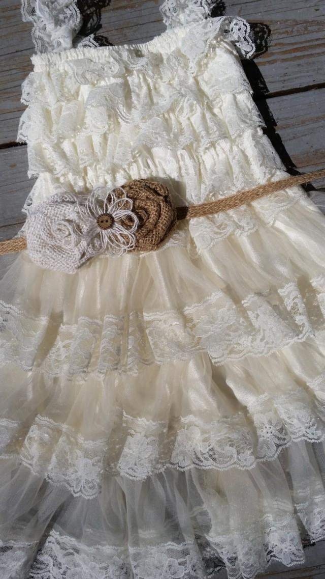 Rustic ivory burlap flower girl lace dress pettidress for Country wedding flower girl dresses