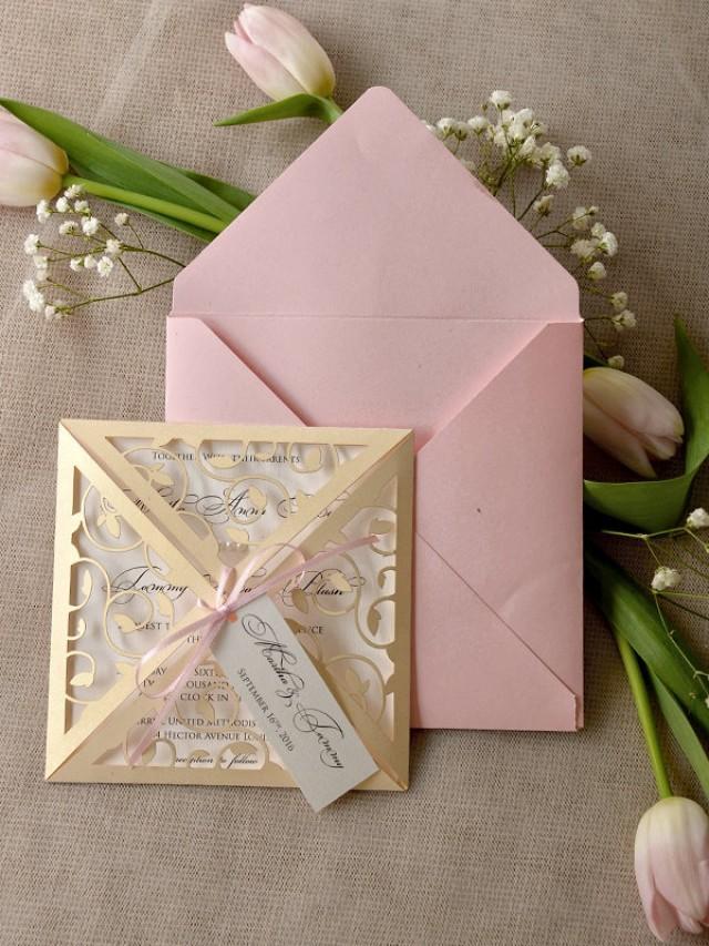 Custom Listing 20 Blush Wedding Invitation Lace Laser