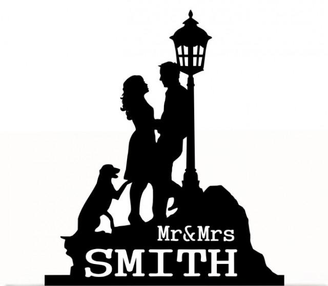 wedding photo - Wedding Cake Topper Mr and Mrs with bride and groom Silhouette, last name, Dog Silhouette. Removable Spikes and free base for display