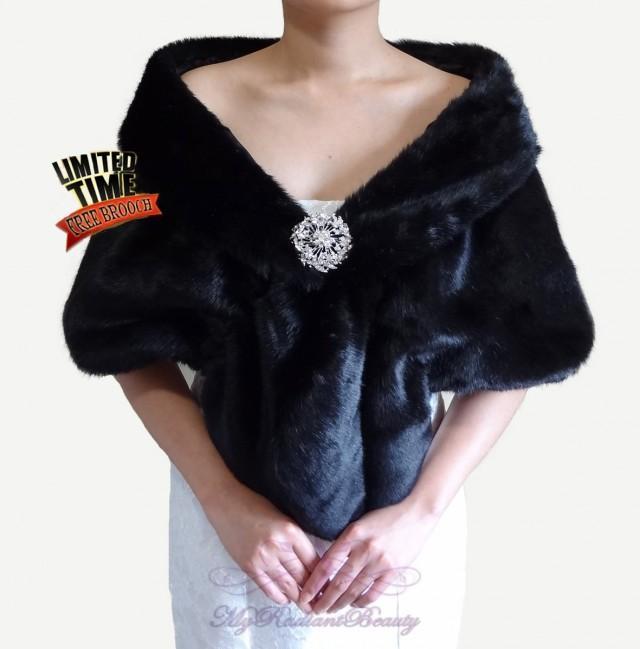 Bridal shrug bridal wrap black faux fur stole bridal fur stole wedding stole wedding fur - Stoel fur ...