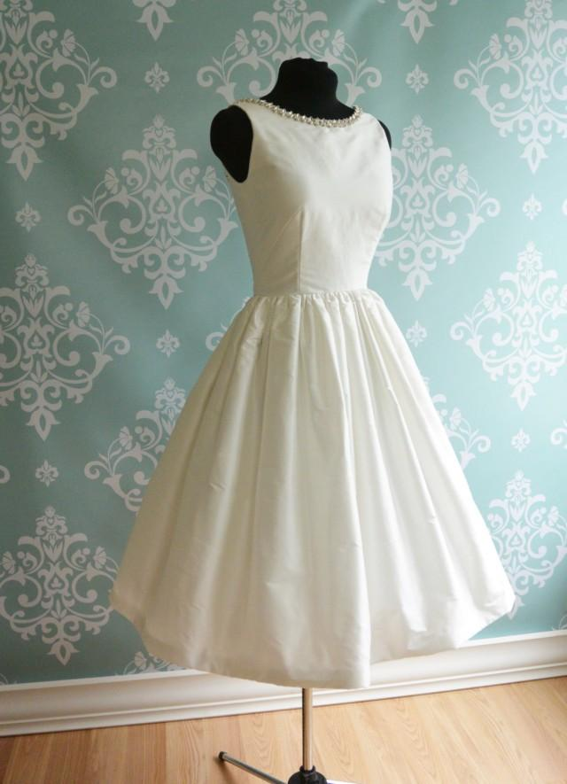 Open back tea length wedding dress promenade white for Wedding dress shades of white