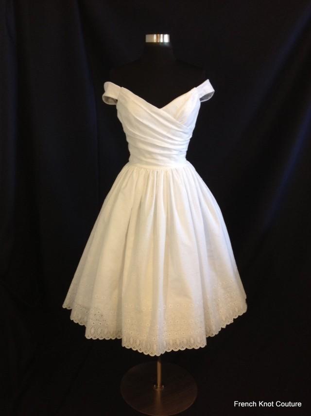 Short wedding dress off shoulder cotton eyelet flir for One shoulder tea length wedding dress