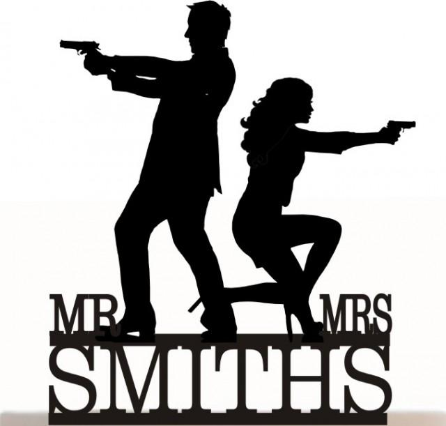 wedding photo - Wedding Cake Topper Mr&Mrs and Silhouette Personalized With Your Last Name. Removable Spikes and a FREE base for display