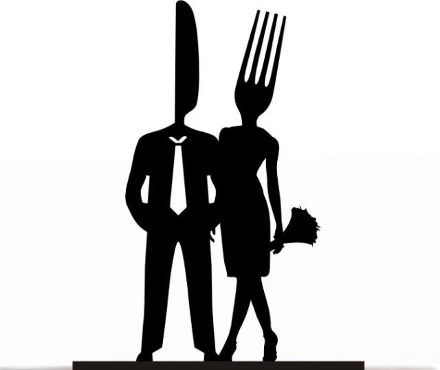 wedding photo - Wedding Cake Topper Mr and Mrs Cake Lover Bride and Groom Fork and Knife