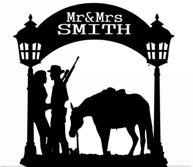wedding photo - Wedding Cake Topper Mr and Mrs With a Horse, Removable Spikes and Free Base for table Display