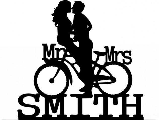 wedding photo - Wedding Cake Topper Mr and Mrs Customized Bicycle with your Last Name