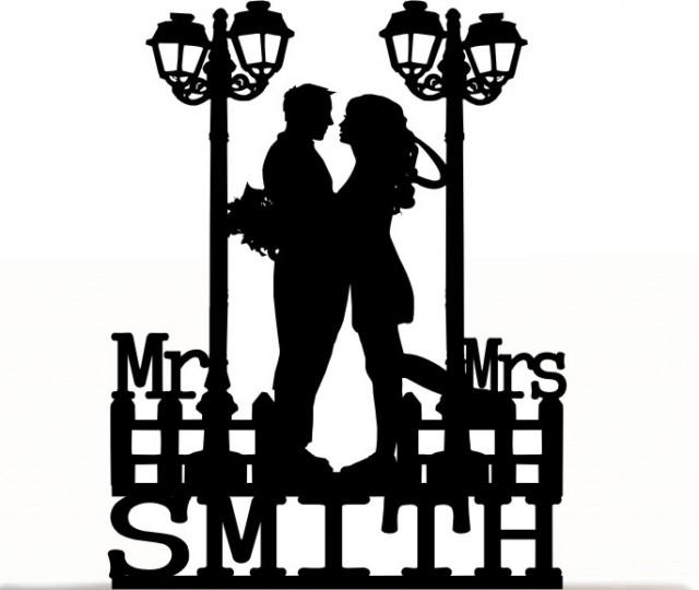 wedding photo - Wedding Cake Topper Engagement Mr and Mrs With a Romantic Silhouette and Your Last Name, Free Base For After Event Display