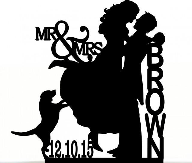 wedding photo - Custom Wedding Cake Topper , Couple Silhouette and any Dog of your choise with free base for display.after the event