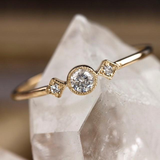 Unique Engagement Ring 14k Solid Gold 15ctw Diamond