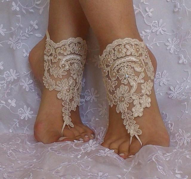 wedding photo - Free ship wedding shoe Champagne gothic barefoot sandals wedding prom party steampunk bangle beach anklets bangles bridal bride bridesmaid