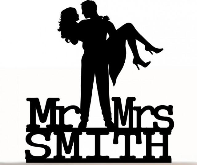 wedding photo - Wedding Cake Topper Mr and Mrs Groom and Bride With Last Name Personalized. Removable Spikes and Free Base For Display. Table Display