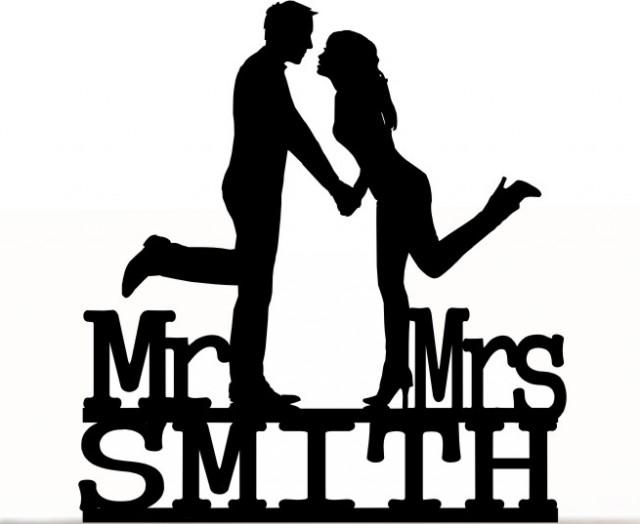 wedding photo - Wedding Cake Topper Mr and Mrs Groom and Bride With Last Name Personalized. Removable Spikes and Free Base For Display. Shelf Display