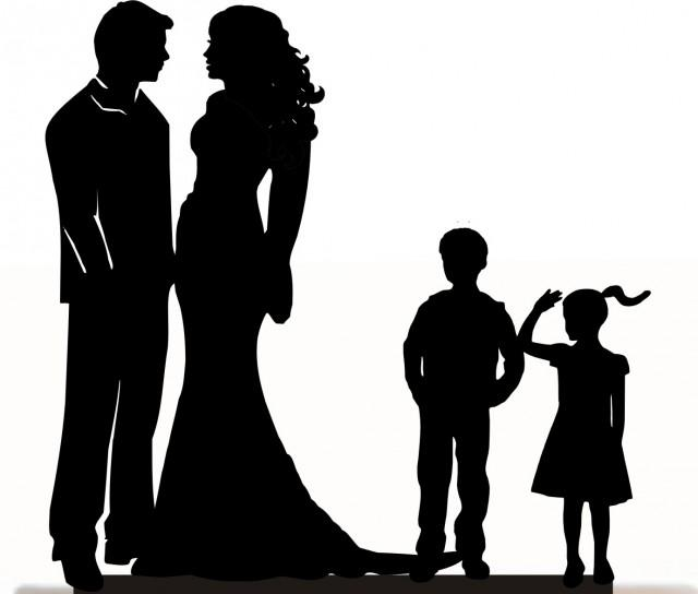 wedding photo - Custom Wedding Cake Topper , Couple Silhouette and any kid silhouette of your choise UP to 3 kids with free base for display.after the event