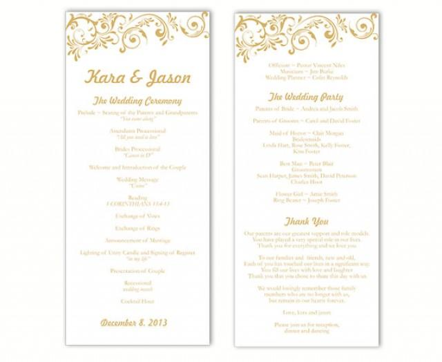 Wedding Program Template DIY Editable Word File Instant Download Program Gold Wedding Program ...