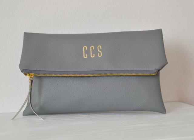 Grey Personalized Clutch Bag / Foldover Clutch Purse / Evening Clutch / Initials Clutch Bag ...