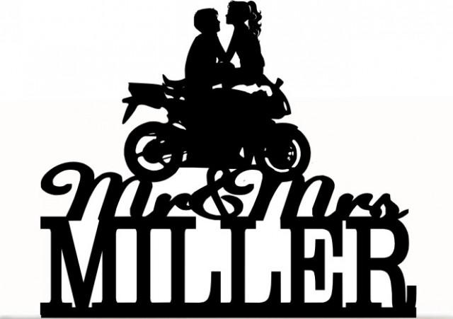 wedding photo - Custom Wedding Cake Topper Mr and Mrs with your last name, a closed tire Motorcycle silhouette, choice of color and a FREE base for display