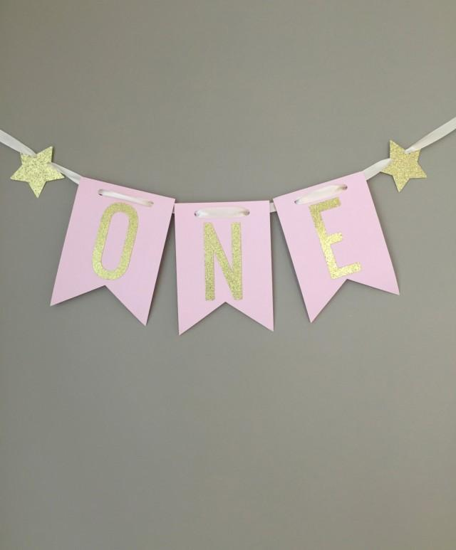 I Am One Pink And Gold Birthday Party Decorations One High: 1st Birthday Highchair Banner, One Highchair Banner,First