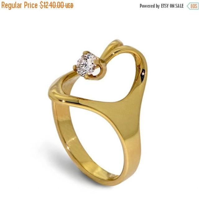 Black Friday SALE ISIDE Solitaire Diamond Ring 14K Yellow Gold Rings Uniq