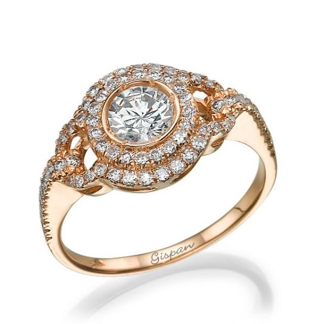 Engagement Ring Rose Gold Diamond Ring Vintage Ring Antique Ring Halo Setting