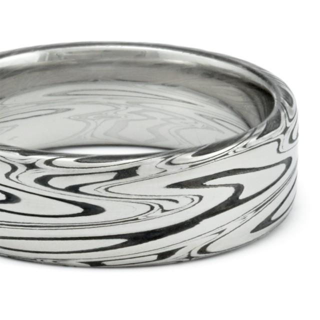 Damascus Mens Wedding Band Flat With Powerful Swirling Current Pattern And Durable Black Fire