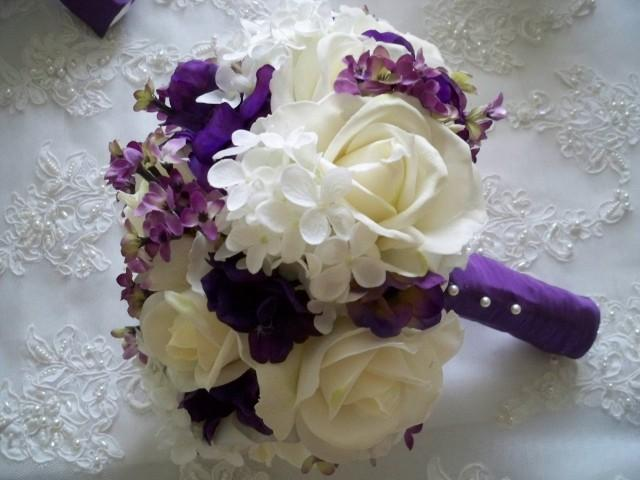 silk flower bridal bouquet with realtouch roses and purple silk anemone 2416229 weddbook. Black Bedroom Furniture Sets. Home Design Ideas
