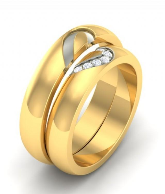 wedding photo - The Abia Heart Wedding Couple Bands Diamond Rings