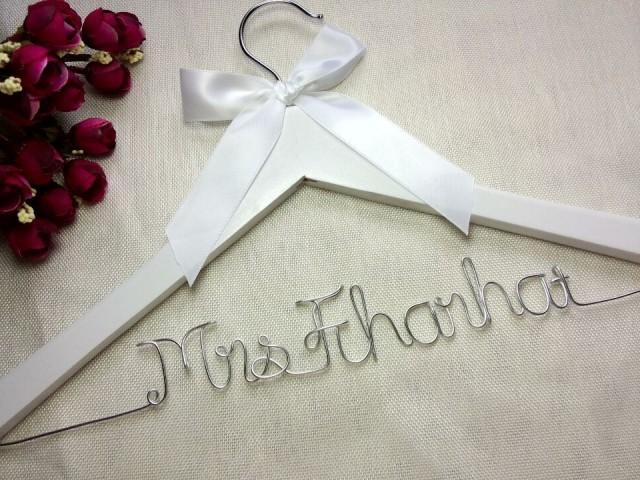 Personalised Wedding Gift Ribbon : White Hanger And Ribbon, Personalized Wedding Hanger,bridesmaid Gifts ...