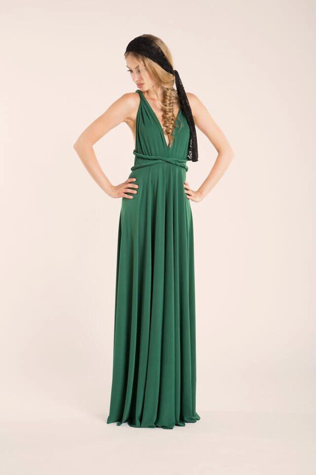 Green infinity dress green long infinity dress long for Forest green wedding dress
