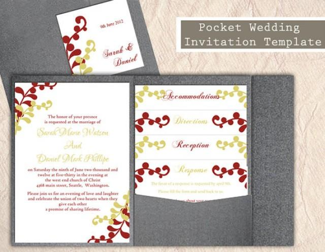 Pocket wedding invitation template set diy instant for Diy pocket wedding invitations tutorial