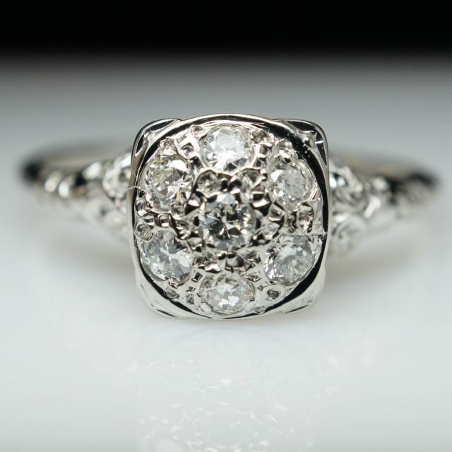 Vintage Antique Art Deco 34ct Diamond Cluster Engagement Ring Ring 18k White Gold