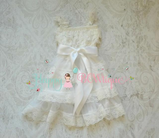 wedding photo - Flower Girl Dress, Victorian White Chiffon lace dress, white dress,baby dress,Birthday dress,baptism dress,christening,girls dress,Baby Girl