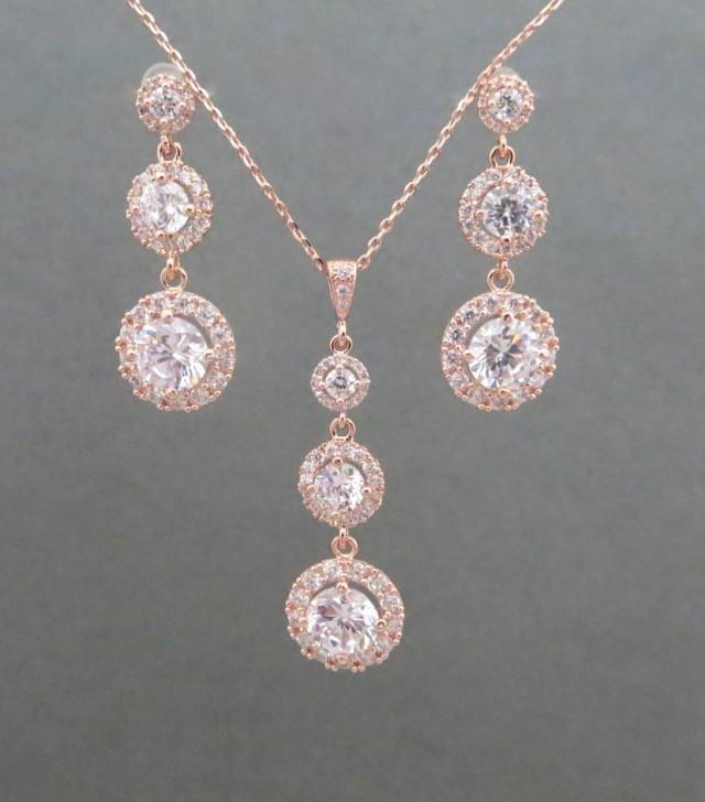rose gold bridal jewelry rose gold necklace rose gold. Black Bedroom Furniture Sets. Home Design Ideas