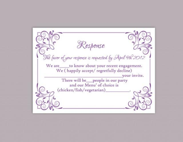 Diy wedding rsvp template editable text word file download printable rsvp cards lavender rsvp for Wedding rsvp templates
