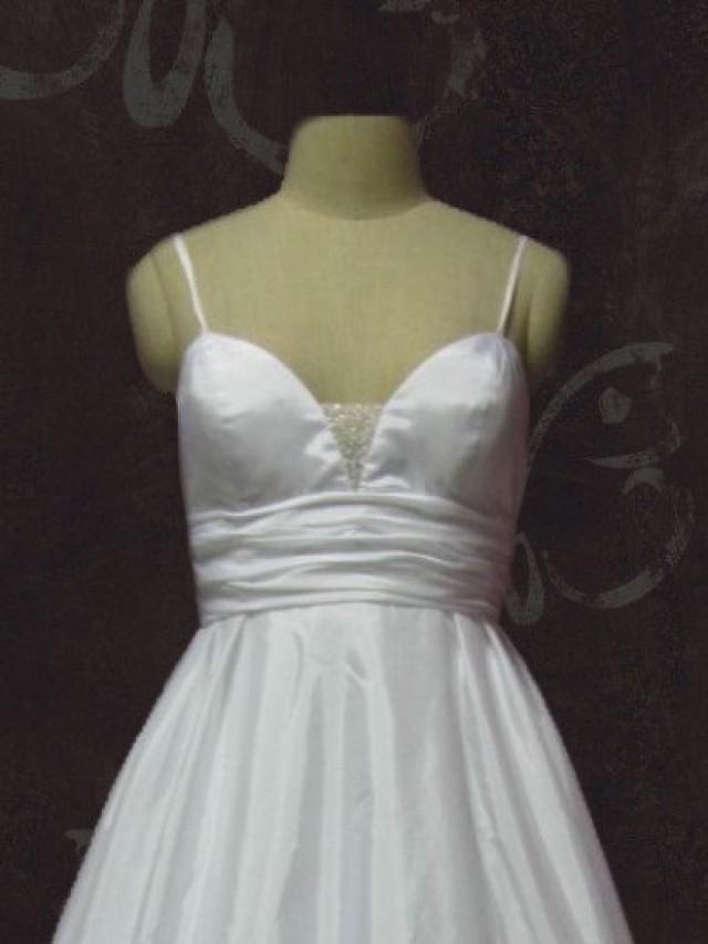 Simple elegant a line low back empire waist wedding gown for Spaghetti strap low back wedding dress