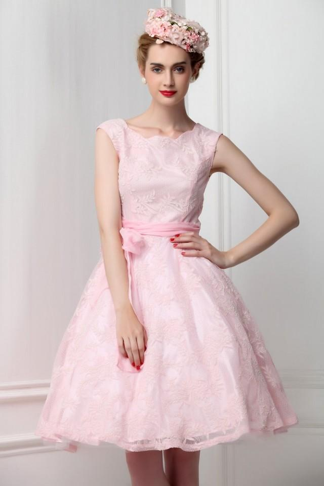 French lace sleeveless pink bridesmaid dress ribbon bow for Simple pink wedding dress