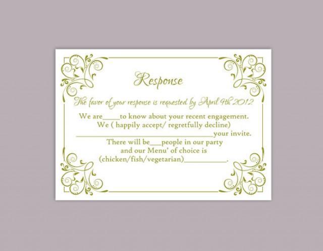 diy wedding rsvp template editable text word file download printable rsvp cards olive green rsvp. Black Bedroom Furniture Sets. Home Design Ideas