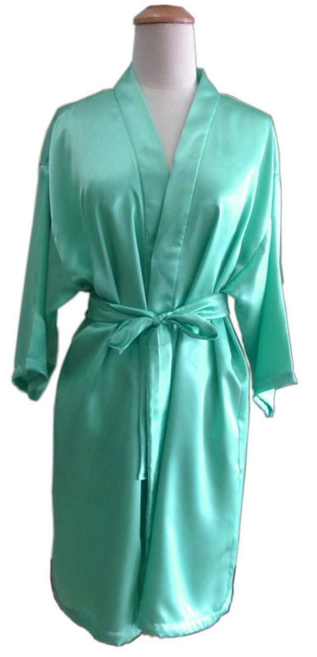 Green Turquoise Satin For Bride Kimono Robe Bridesmaids ...