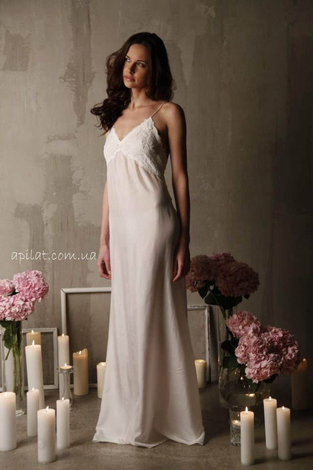 Long silk bridal nightgown with open back and lace f12 for Corset bra for wedding dress